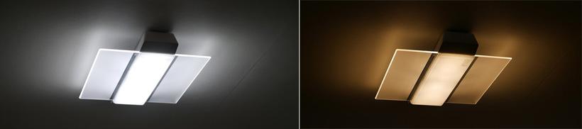 ↑昼間は昼光色や文字がくっきり読める光でしゃきっと(左)。夜は暖色系の光でリラックス(右)