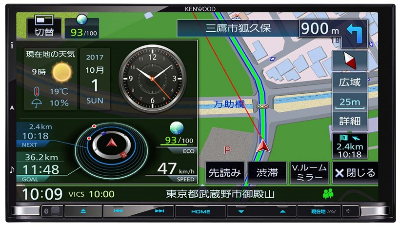 ↑ルートガイドで表示されるINFOウインドウの一例。天気情報や目的地と現在地の位置関係を感覚的に把握できるGUIも表示。写真は180mmサイズの「MDV-Z905」