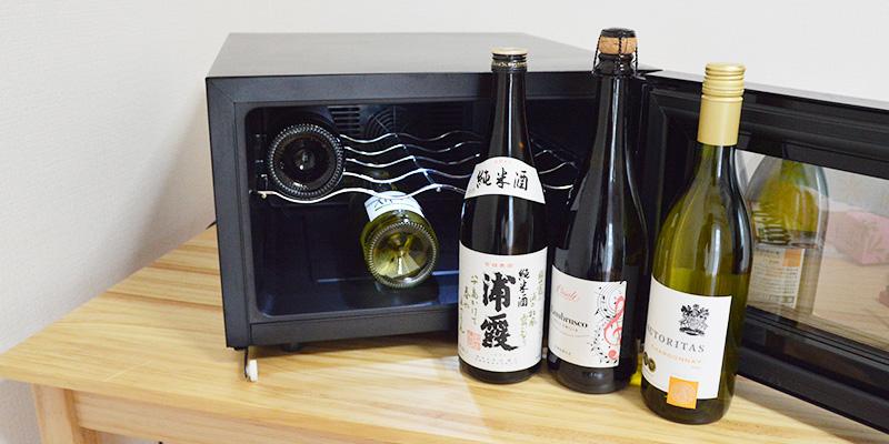↑ワインだけでなく、4号瓶の日本酒も収納できます