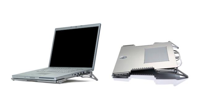 2003年発売の「X-Base」(実売価格3万7584円〜)。アルミから削り出して作られた、ノートPCの冷却台。温度差によって生じる空気の対流を利用し、平均してマイナス7℃という高い冷却性能を確保した