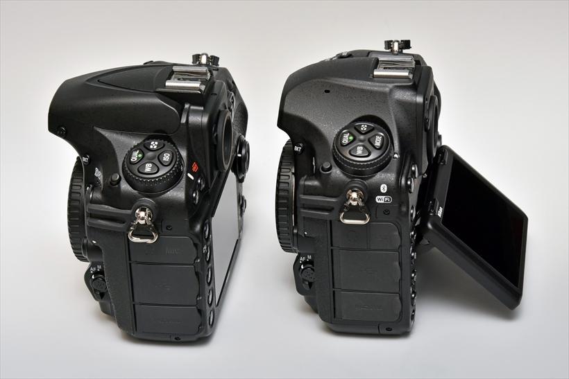 ↑可動式(チルト式)の液晶モニターを搭載しているが、D810ボディ(左)と比べても特に厚みは感じない。内蔵フラッシュを廃止したことで、前方へのせり出しも抑えられている