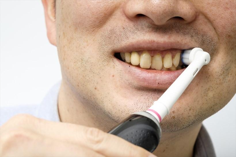↑歯磨きは口の中を上部左、右、下部左、右の4パートに分け、それぞれ表側、裏側、噛み合わせ部の順番で磨いていきました