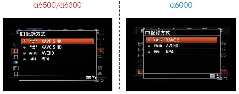 ↑各機種の動画設定を比較。α6500とα6300が4K/30p対応でα6000がフルHD/60pまでのサポートとなっている。記録形式は、いずれも業務用の記録形式を民生化したXAVC Sを選択可能だ。α6000はAVCHDのみ対応だったが、ファームウェア2.0で100MbpsのXAVC Sに対応した(4K撮影は不可)