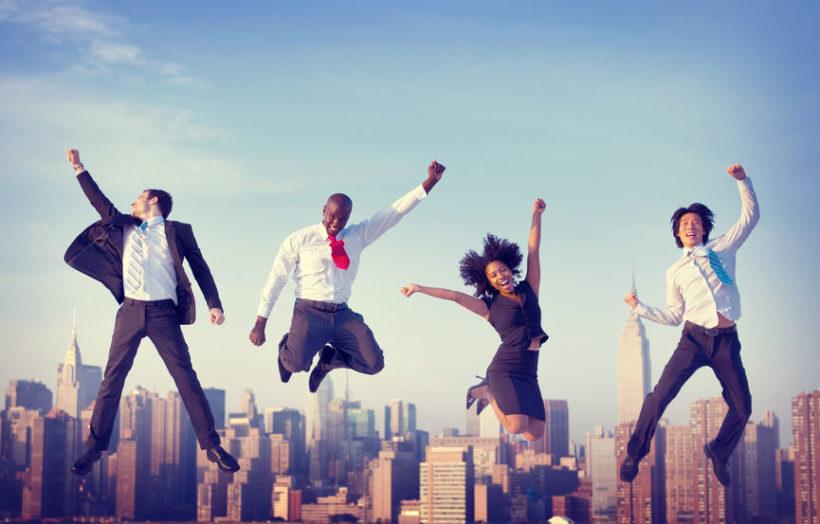 34575412 - business people success achievement city concept