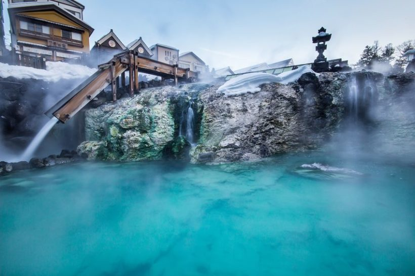 37953259 - kusatsu onsen is one of japan most famous hot spring resorts and is blessed with large volumes of high quality hot spring water said to cure every illness but lovesickness.
