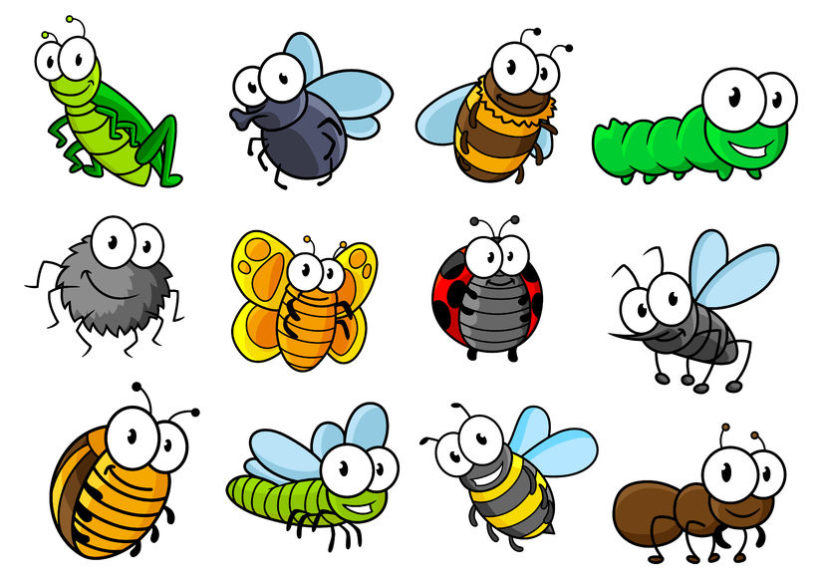 39928746 - colorful collection of vector cartoon bugs and insects with caterpillars, ladybug, butterfly, grasshopper, fly, spider, bee, hornet, wasp and ant