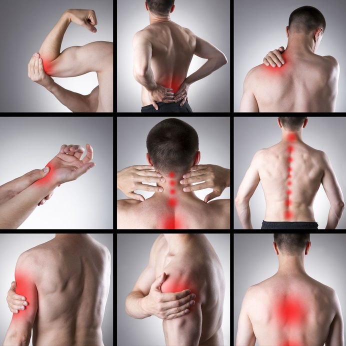 45276033 - pain in a man's body on a gray background. collage of several photos with red dots
