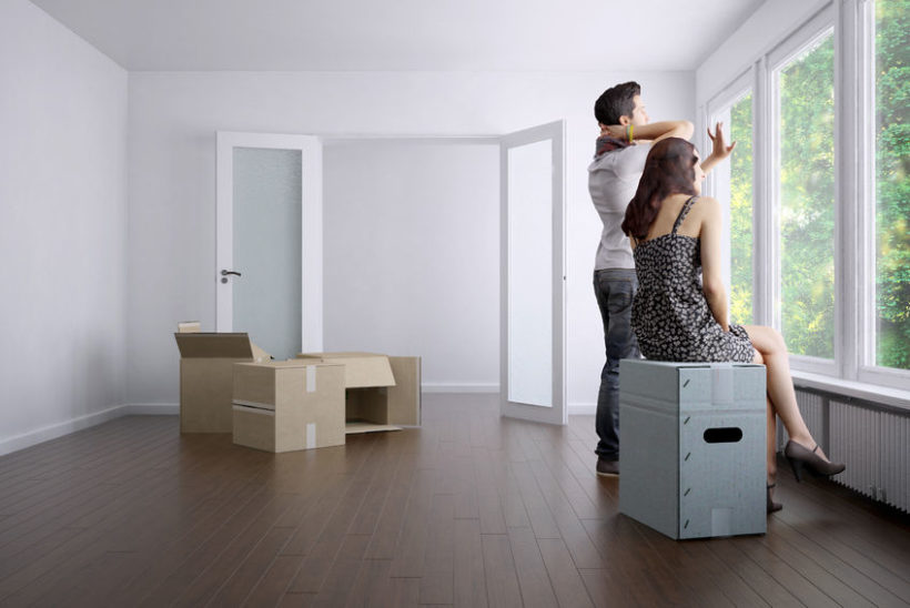 37275054 - empty apartment with a couple and packing boxes / 3d rendering