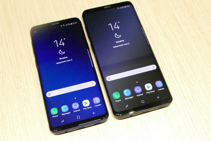 ↑「Galaxy S9」(左)と「Galaxy S9+」(右)のディスプレイ面。比率は縦18.5:横9となる。解像度は1440x2960ピクセルで、HDRコンテンツにも対応する
