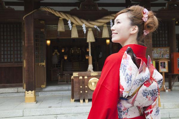 39908977 - furisode kimono in cheek smile woman