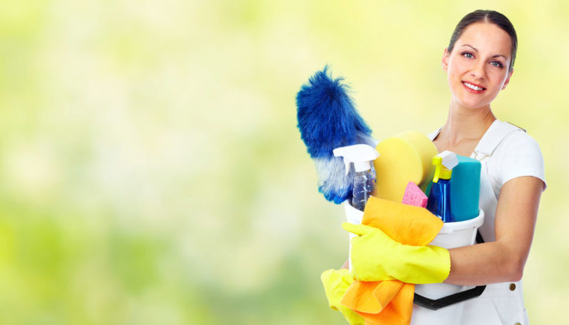 45284984 - young smiling maid. house cleaning service concept.