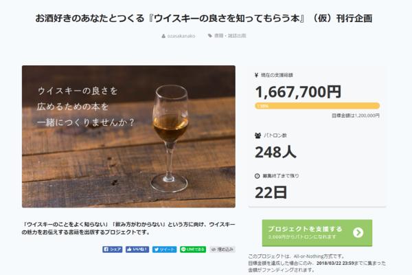 出典画像:「お酒好きのあなたとつくる『ウイスキーの良さを知ってもらう本』(仮)刊行企画」CAMPFIRE より