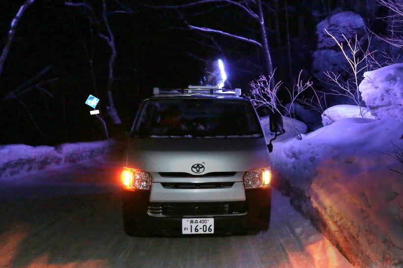 ↑投光器を積んだライトカー。