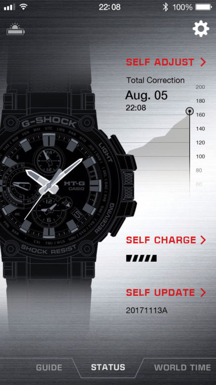 5f6cf7b0a8 多機能時計でネックになる煩雑な操作も、本機ならスマホの画面で迅速に設定可能。Bluetooth®接続時に自動で時刻が修正される点も便利。