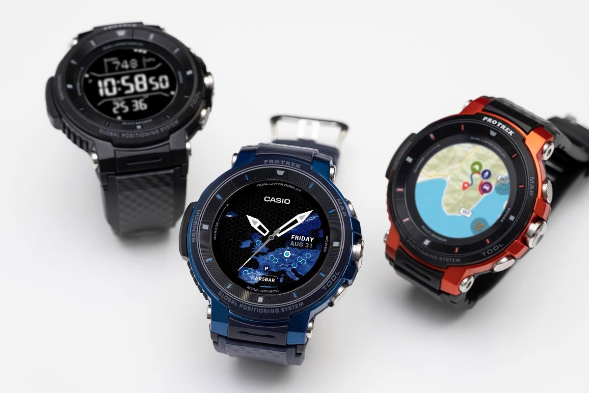 922cea3741 ↑PRO TREK Smartシリーズ3代目となるWSD-F30。カラーはシリーズ定番のオレンジに加え、ブラックとブルーの3色をラインナップ