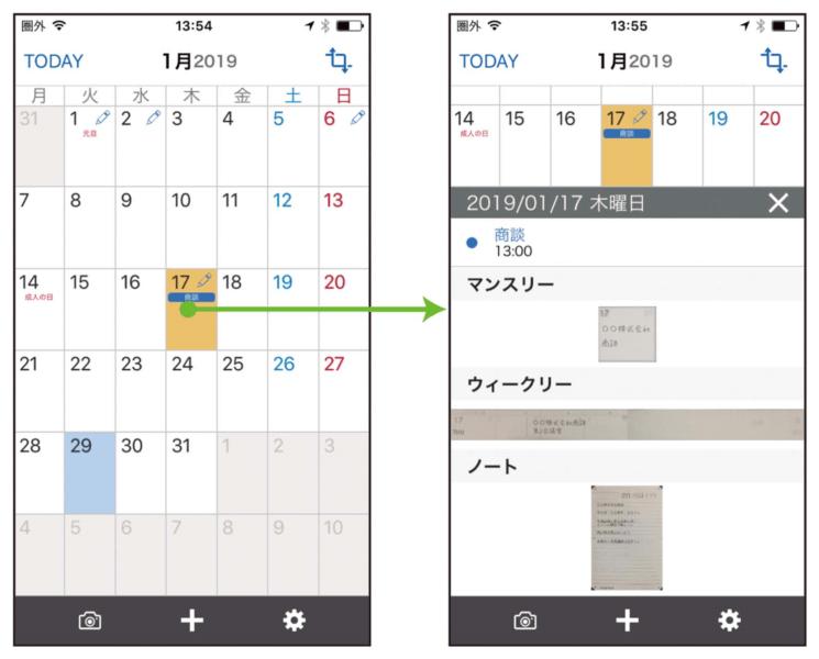 537cd230cf アプリで手入力した予定、月間スケジュール、週間スケジュール、メモが保存されます。日付をタップするとその日に関する書き込みが一覧で表示されます