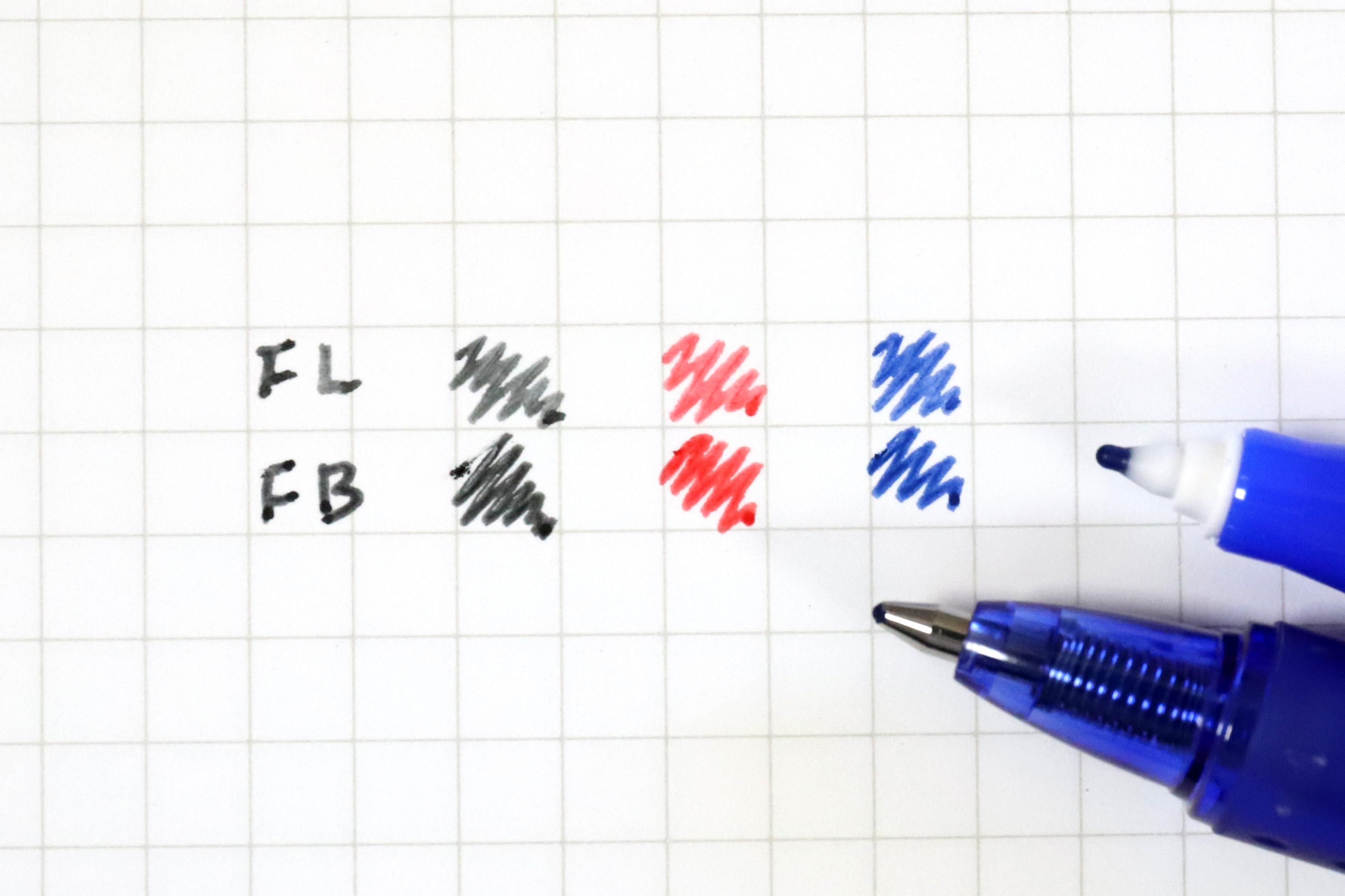 ↑ファインライナー(上段)とフリクションボール1.0(下段)の比較。黒と赤はどうしても薄く感じる