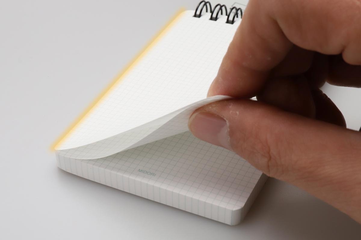 ↑メモの左辺(写真、オレンジ色の部分)がのり付けされているので、先頭ページ以外は開かない