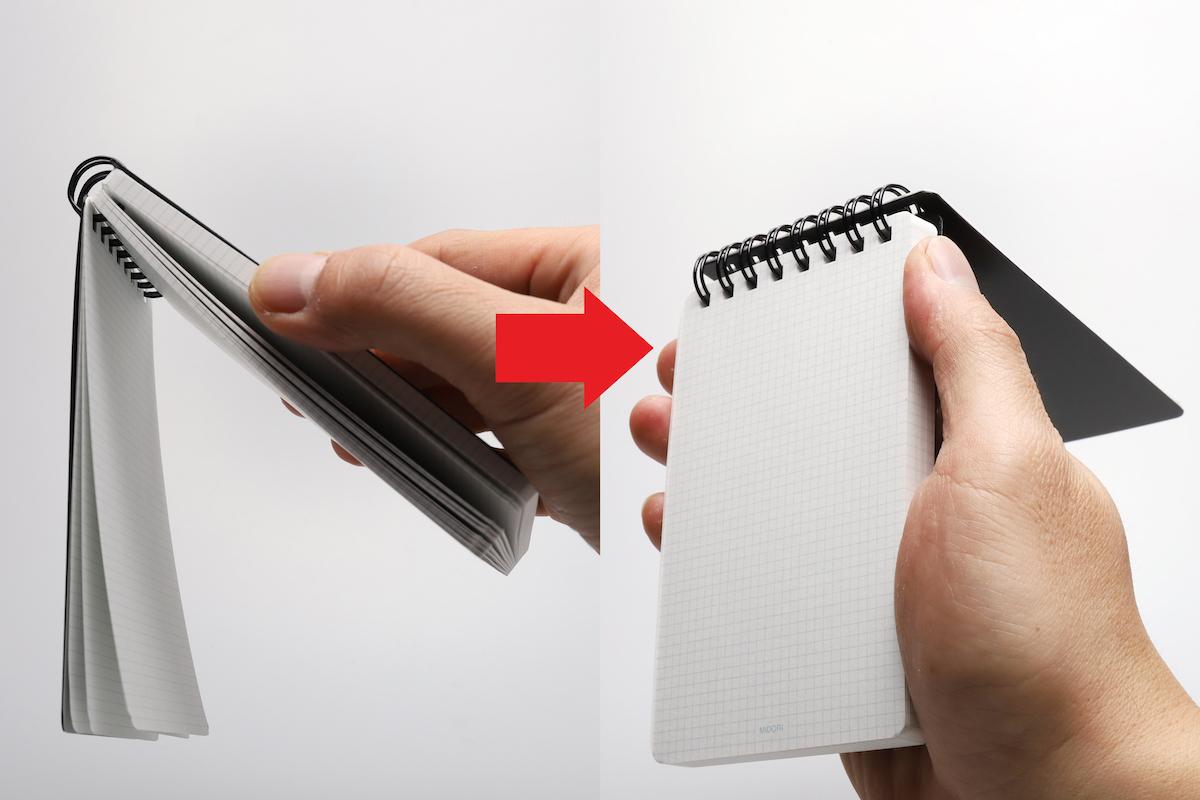 ↑側面を支えたまま表紙を下にすると、書き込み済みのページだけ垂れ下がるので、このまま手首をひねると瞬時に空きページがパッと開く