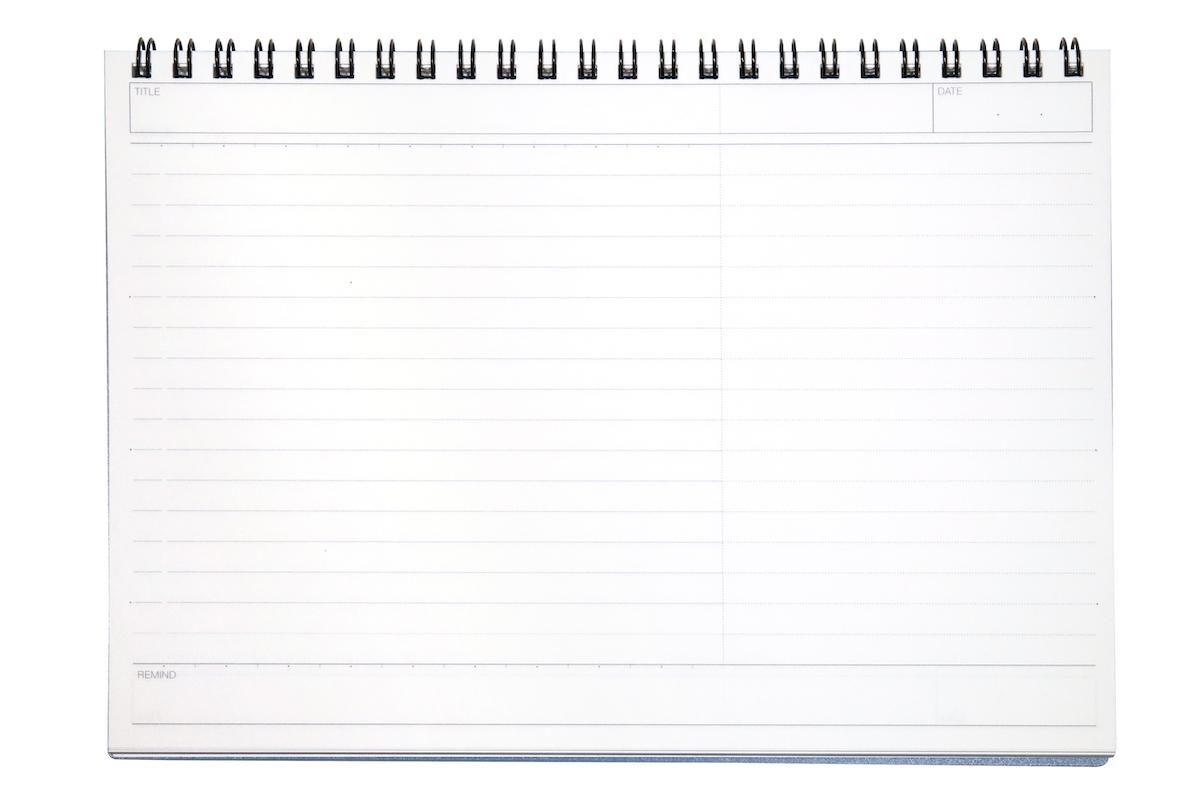 ↑ビジネス罫リングノートの紙面。縦横は違うが、紙面の分割はルーズリーフやパッドと同じだ