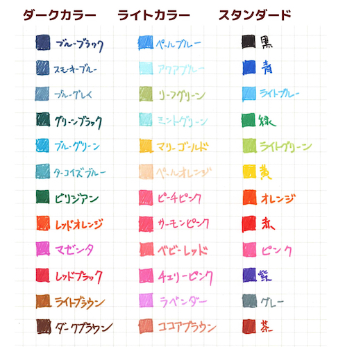 ↑最近のカラーペンのトレンド(ピンク・ブルー系の充実)をきちんと踏まえた印象のラインナップ