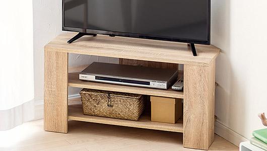 部屋の隅を有効活用! コーナーに置ける台形型のテレビ用ローボード「100-TV007」