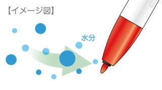 ↑ノック式が可能になった秘密は、新開発のモイストキープインク。空気中の水分をインク自らが吸収することで、ペン芯の湿度を保ち、乾燥を防ぐ