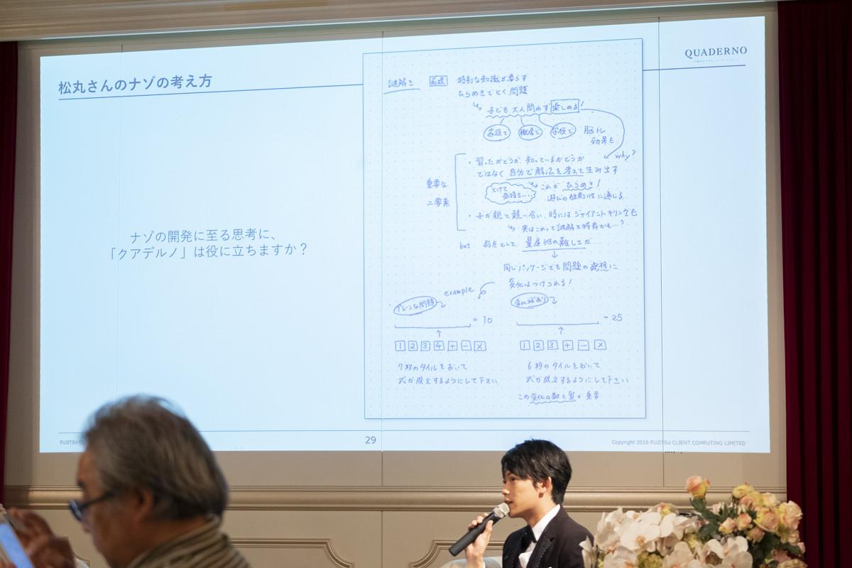 ↑松丸氏が実際にクアデルノを使用した様子。頭に思い浮かんだことをそのまま書けるのが気に入っているのだそう