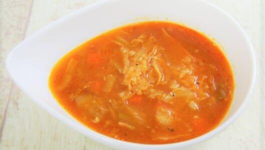 スープでほどよく満たされる! 1/2日分の野菜がとれるセブンの「チーズたっぷり! 野菜とトマトのスープ」