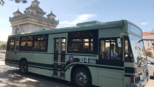 京都の市バス、ラオスのビエンチャンを走る!