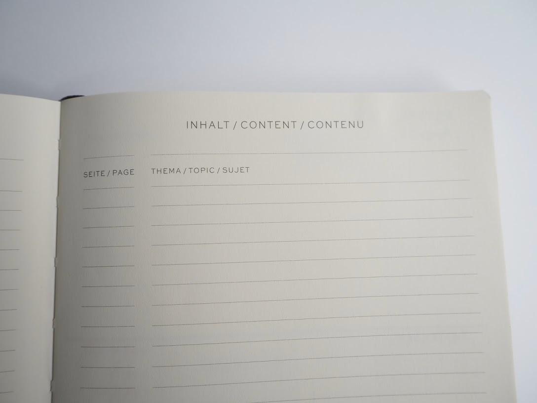 ↑ノートに書いた内容を一覧できる、目次ページも用意されている
