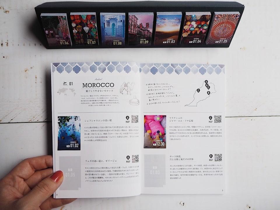 ↑ページには付箋を貼り付けるためのスペースが設けられており、毎日めくるたびに該当する欄へ貼り付けていけば、旅行ガイドが出来上がっていく