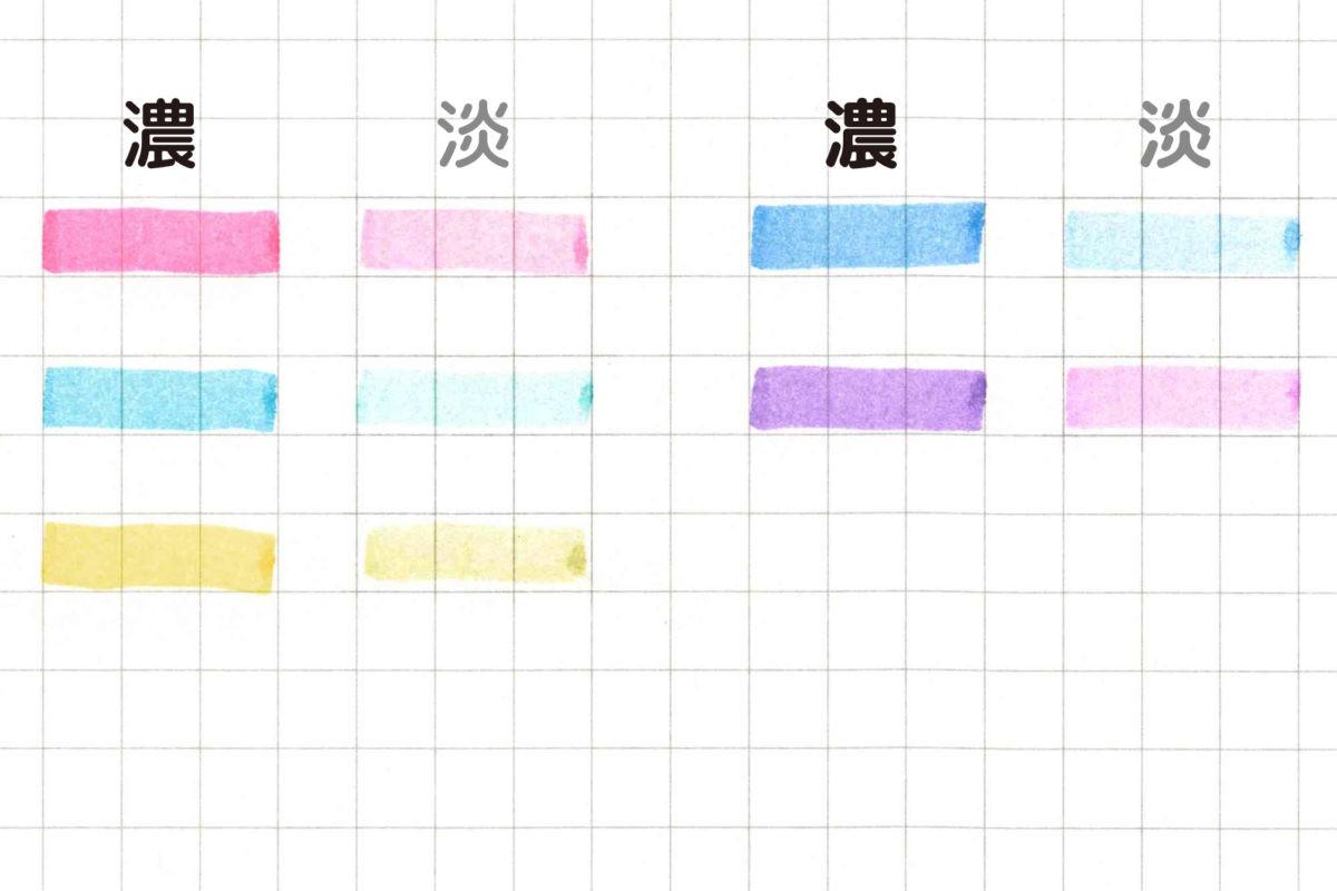 ↑mark+のカラー比較。写真では淡色がかすれて見えるが、実際はしっかり視認できるレベル
