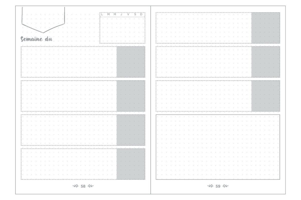 ↑週間のスケジュールなどを書き込むための「ウィークリーフレーム」は5週間×12か月分を用意