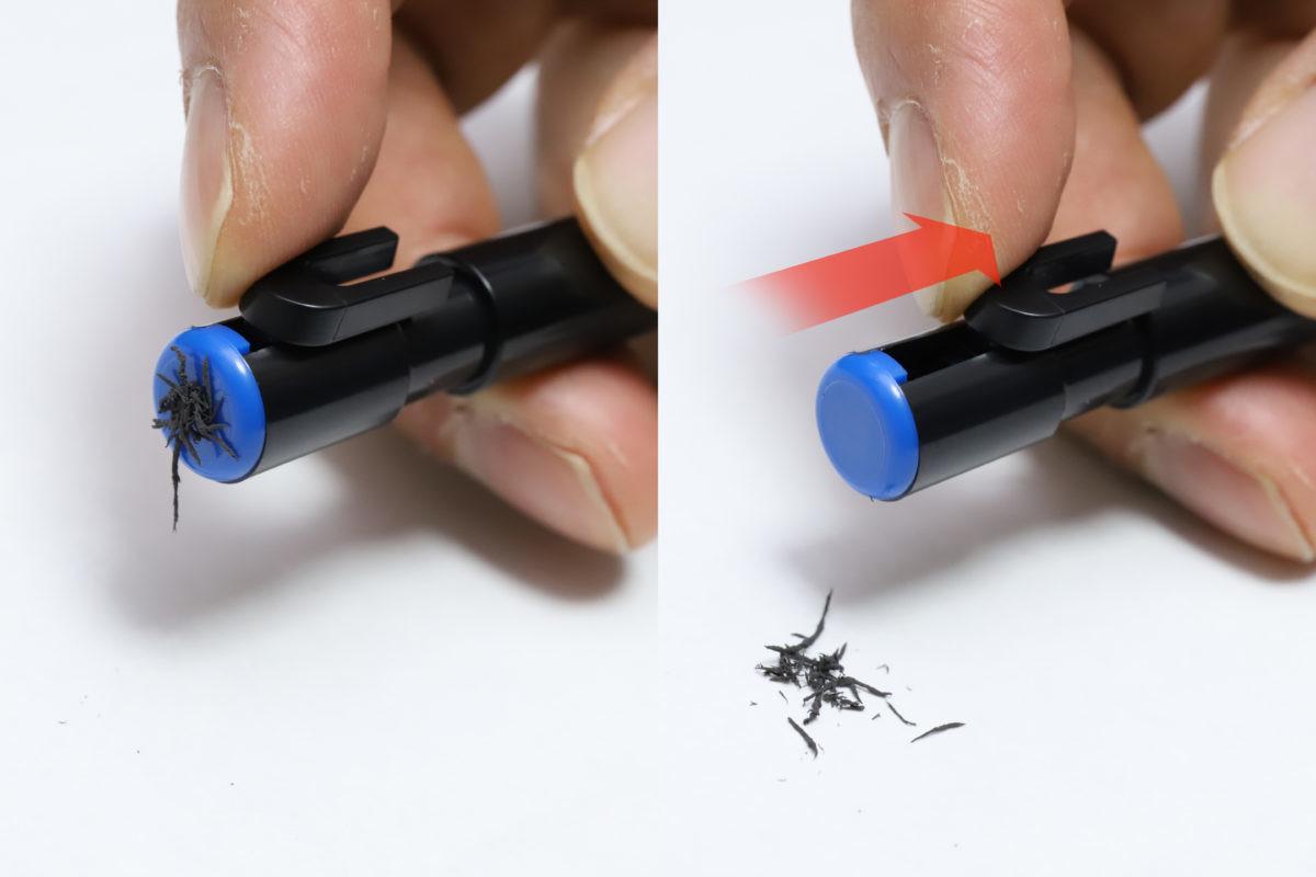 ↑吸着した消しカスをパージするときは、U字パーツを引くだけ。バネが入っているので、指を離すとU字は元に戻る