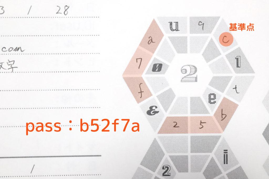 ↑ヒントは「基準点から3文字目、6文字」。印刷された文字は抜かして読むとパスワードは「b52f7a」となる。読み方が分からないと全く不明なのが面白い
