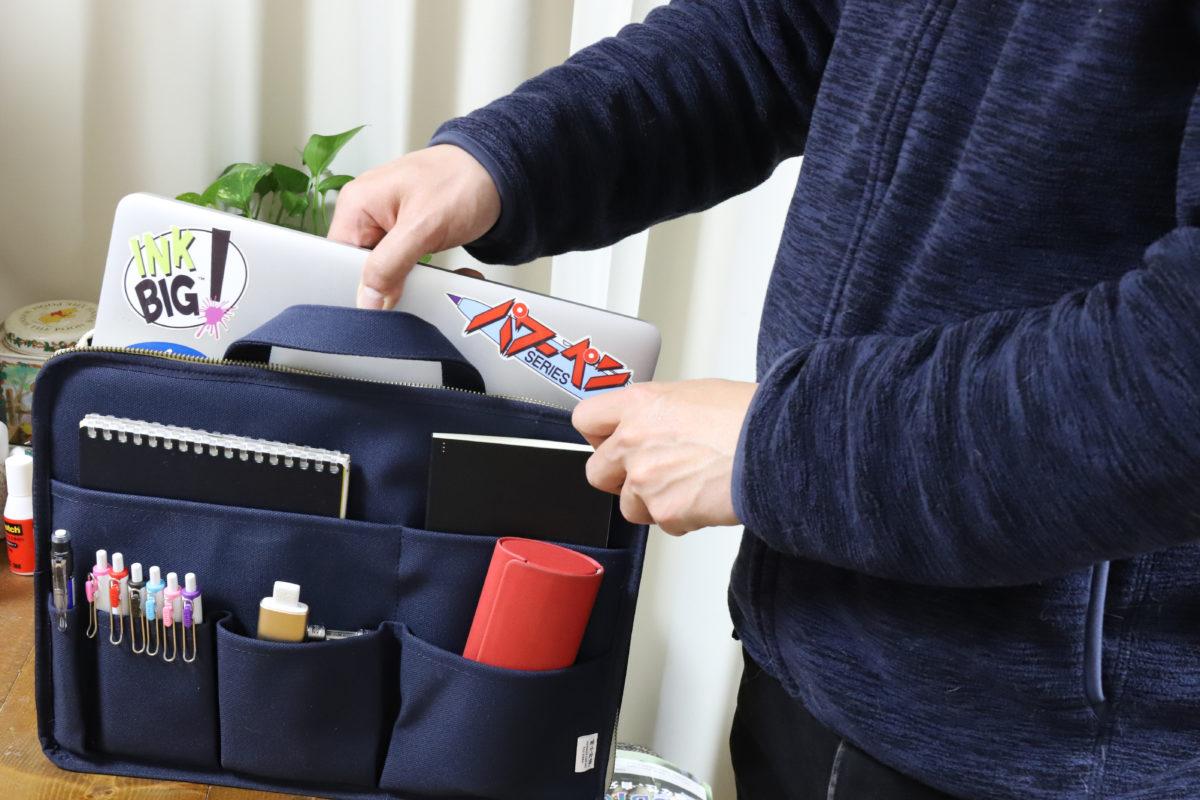 ↑バッグインバッグに変形。このまま大きめのカバンに放り込んで持ち歩くこともできる