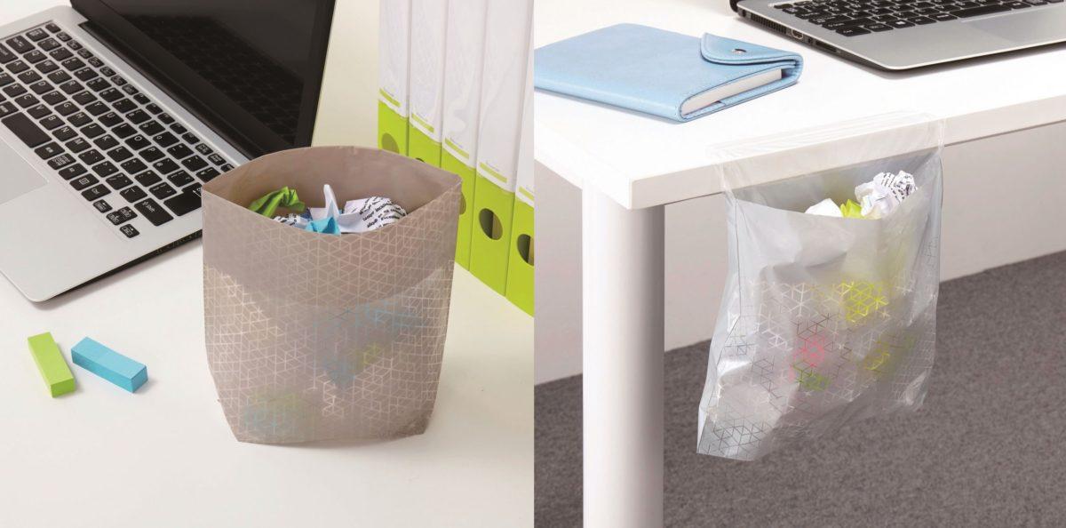 ↑「席から共用のゴミ箱までが遠いと、ゴミ捨てに行く間に集中力が切れるのでコレは便利。特に貼るタイプは視界に入らない位置に設置できていいですね」(岩谷さん)