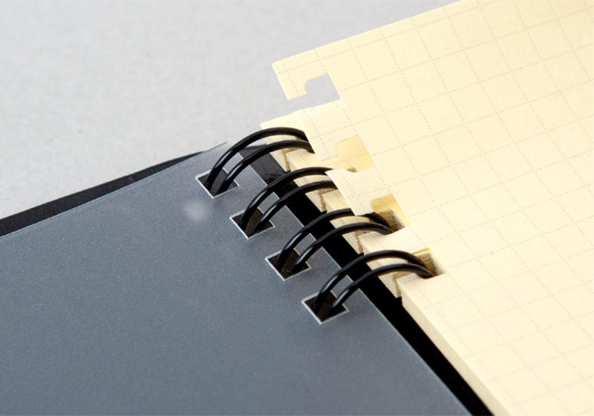 ↑用紙のリング穴にスリットが入っており、バインダーのように金具を開閉する手間なくページを着脱できる。使い終わったリフィルを専用のストックファイルに収納すれば、管理も簡単だ