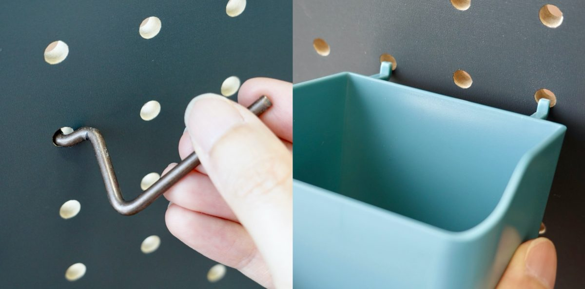 """↑パーツには、ボードの穴に引っ掛けて取り付けるための""""爪""""がある。これによって、工具なしで簡単に設置・取り外しが可能。有孔ボードならではのメリットだ"""