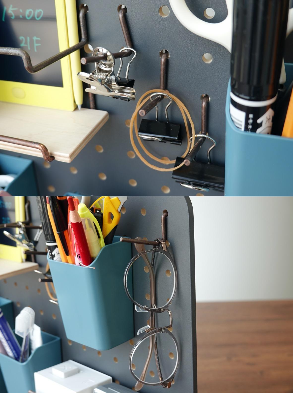 ↑輪ゴムやクリップはボックスに入れると取りにくく、埃も溜まりやすい。こうしてL字フックにかければ量も把握できるなどメリットは多い。またメガネも、レンズ部分を接触させたくないためL字フックにぶら下げた
