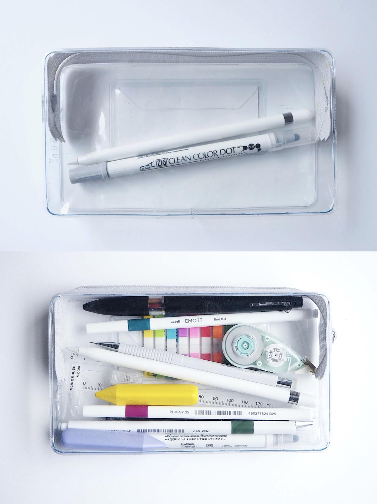 ↑ペンを1-2本入れても、小物類もいっしょにたっぷり詰め込んでも、中が見通せるので確認しやすく、見た目を気にしてコーディネートする楽しみもある