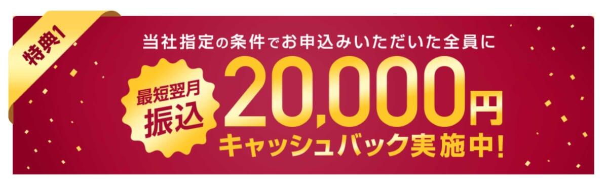 ネットナビ20,000円キャッシュバックキャンペーン