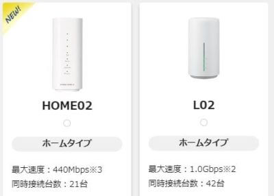 WiMAXホームルーターの機種 「HOME02」「L02」