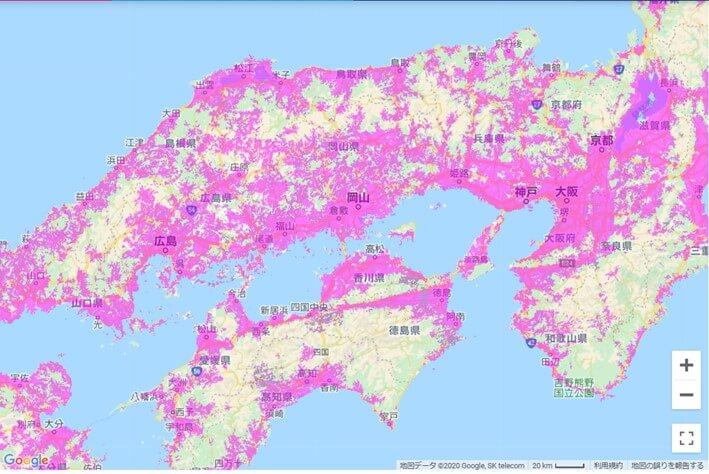 WiMAX エリアマップ
