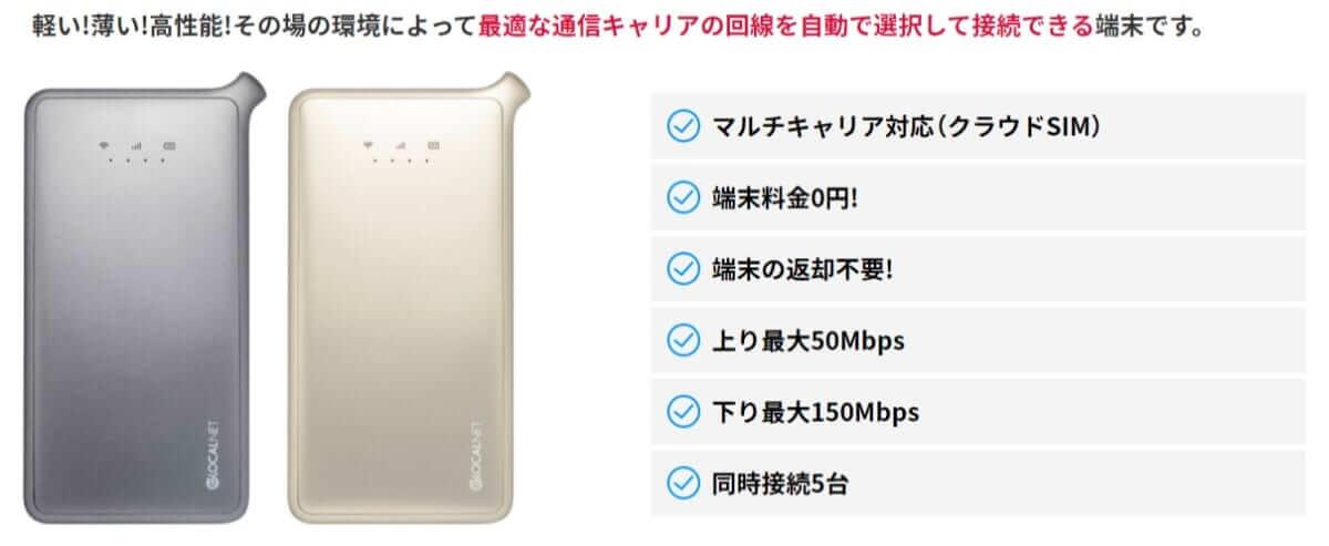 hi-ho Let's Wi-FiのモバイルWi-Fi端末・U2s